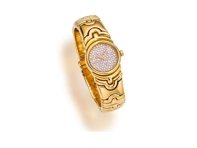 "A diamond and eighteen karat gold ""Parentesi"" wristwatch,  Bulgari"
