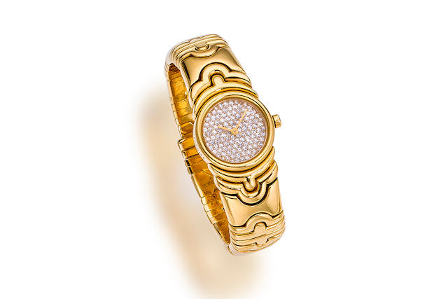 """A diamond and eighteen karat gold """"Parentesi"""" wristwatch, Bulgari"""