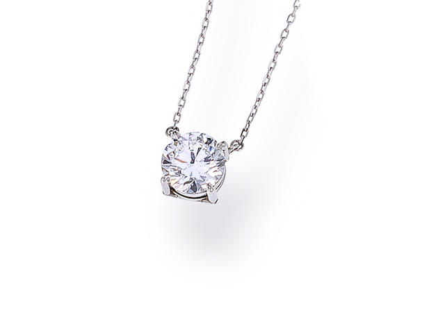 A diamond solitaire pendant necklace
