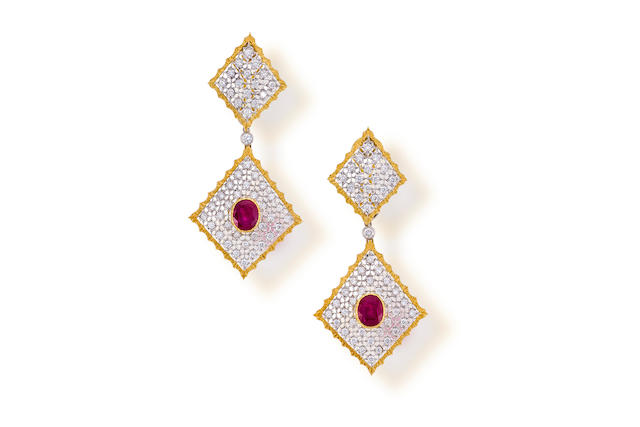 A pair of ruby and diamond day/night pendant earrings, Buccellati