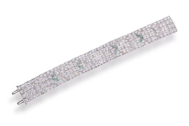 An art deco diamond and emerald bracelet, Raymond Yard,