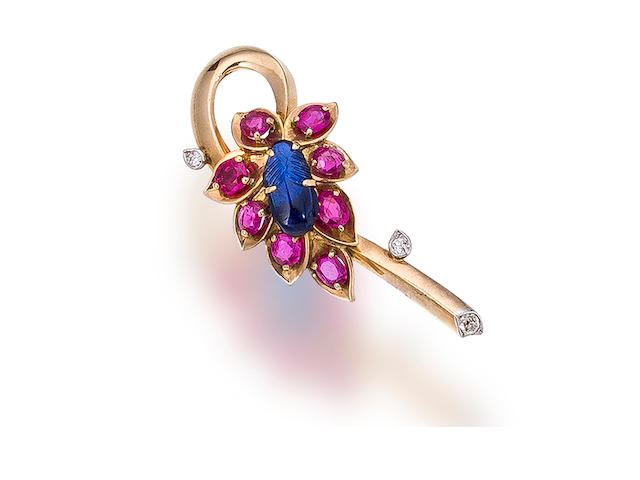 A sapphire, ruby and diamond brooch, Cartier,