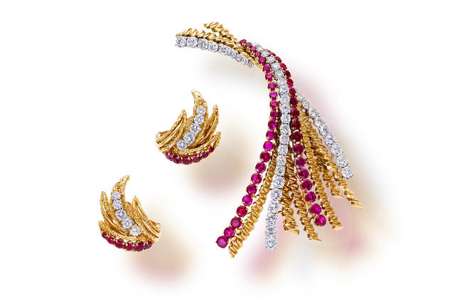 A pair of  ruby and diamond earclips and a brooch, Van Cleef & Arpels