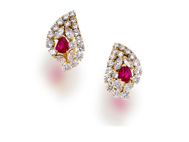 A pair of ruby and diamond earclips, Mauboussin
