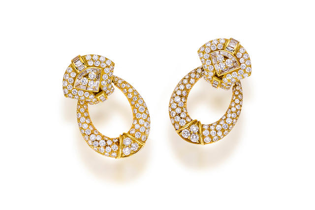 A pair of diamond day/night earrings, Boucheron,