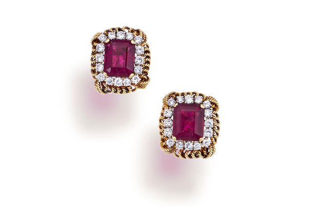 A pair of pink tourmaline and diamond earclips,  David Webb