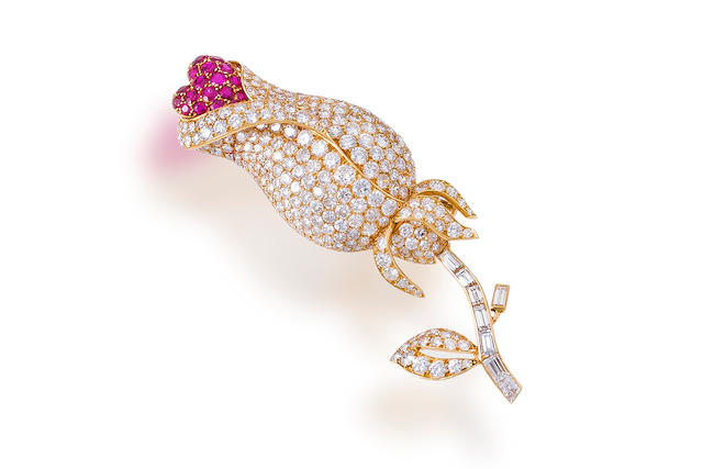 A diamond and ruby brooch, Cartier,