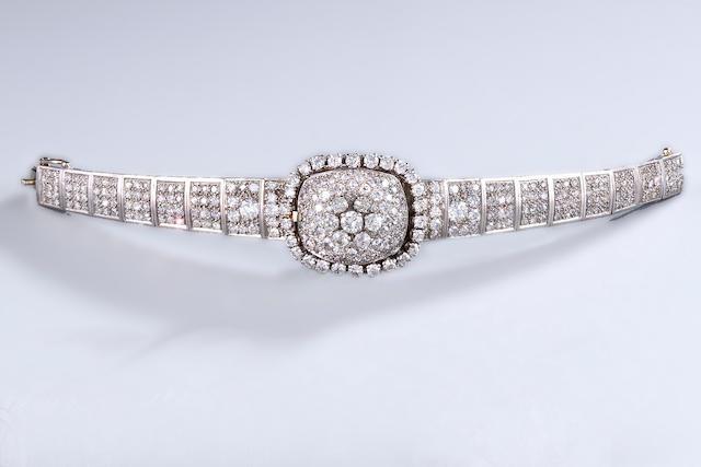 A diamond wristwatch, Universal Genève,