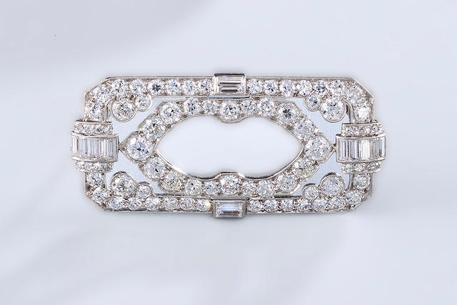 An art deco diamond brooch, Tiffany & Co.,