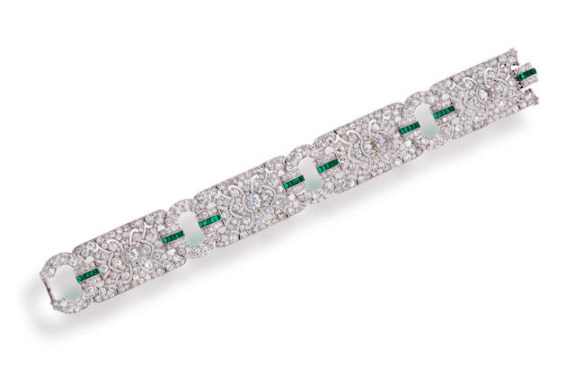 An art deco diamond and synthetic emerald bracelet,