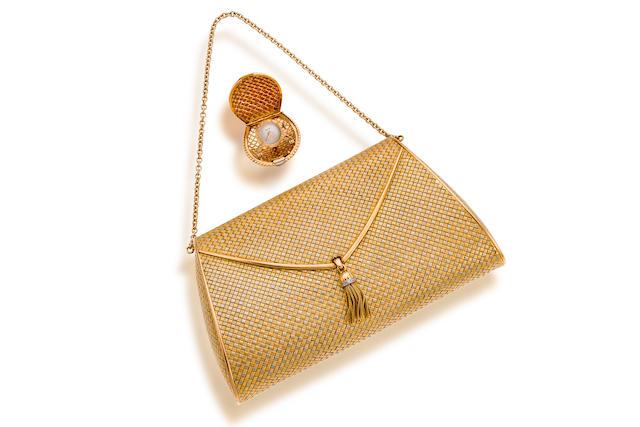 An eighteen karat bicolor gold handbag and watch,