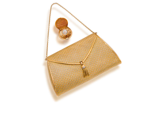An eighteen karat bicolor gold handbag and watch,