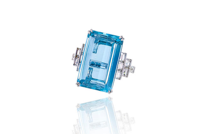 An aquamarine and diamond ring, Sophia D.