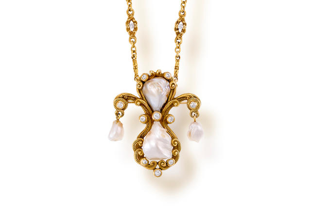 An antique freshwater pearl, diamond and fourteen karat gold pendant necklace, Marcus & Co.,