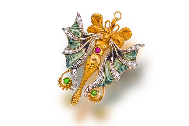 An art nouveau enamel, diamond and gem-set pendant brooch,