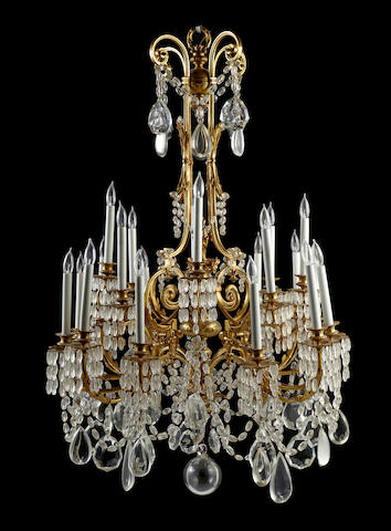 A good Louis XVI style gilt bronze and glass eighteen light chandelier<BR />fourth quarter 19th century