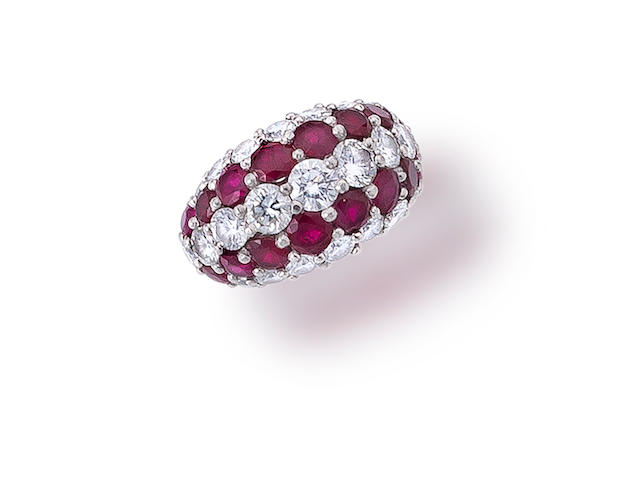 A ruby and diamond ring, Cartier