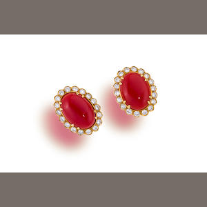 A pair of coral and diamond earclips