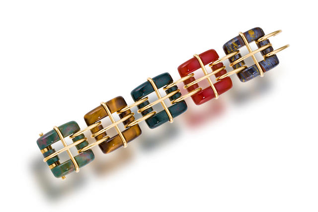 A gem-set and eighteen karat gold bracelet, Tiffany & Co.,