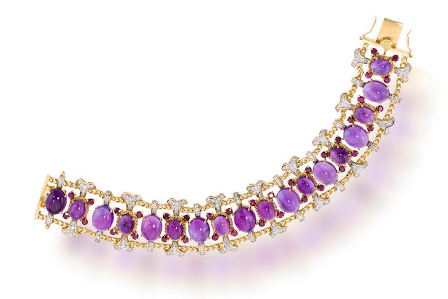 An amethyst, ruby and diamond bracelet