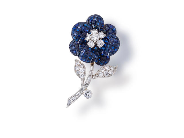 A sapphire and diamond brooch, Van Cleef & Arpels
