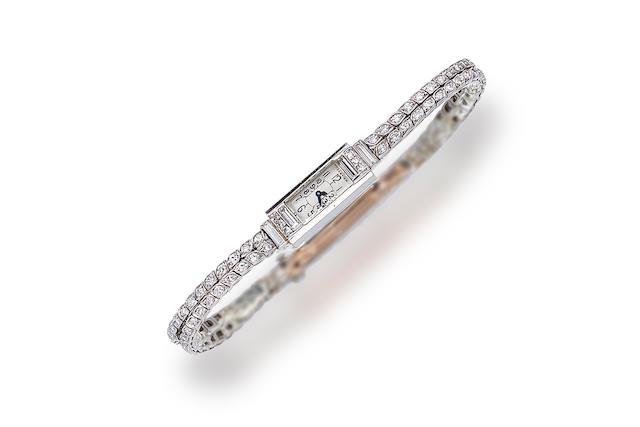 An art deco diamond wristwatch, Cartier,