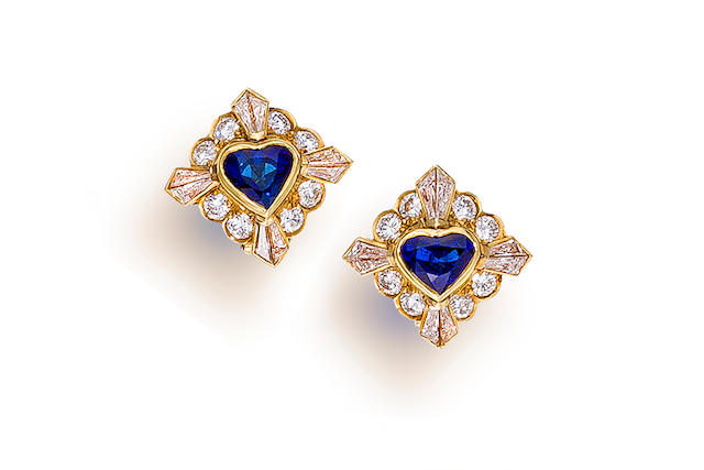 A pair of sapphire and diamond earclips, Van Cleef & Arpels