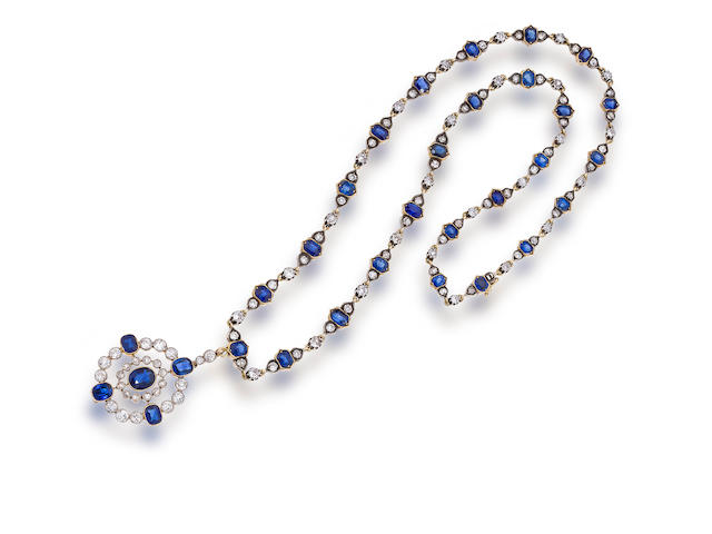 An antique sapphire and diamond necklace,