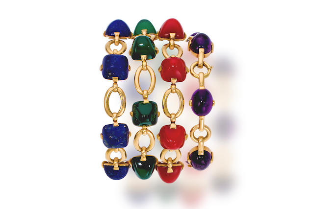 Four gem-set and eighteen karat gold bracelets, Marzo,