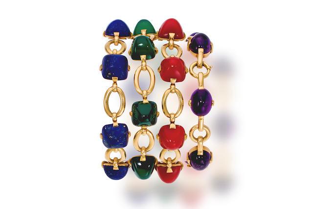 Four gem-set and eighteen karat gold bracelets, Marzo,