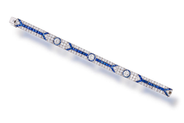 An art deco sapphire and diamond bracelet, French