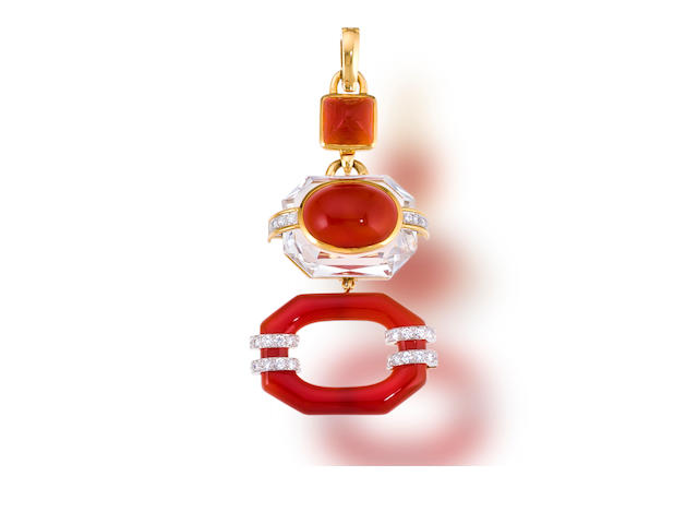 A carnelian, rock crystal and diamond pendant, David Webb