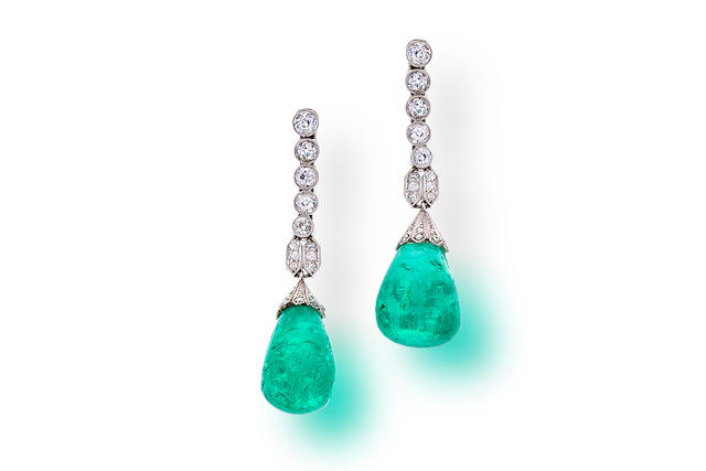 A pair of diamond and emerald pendant earrings