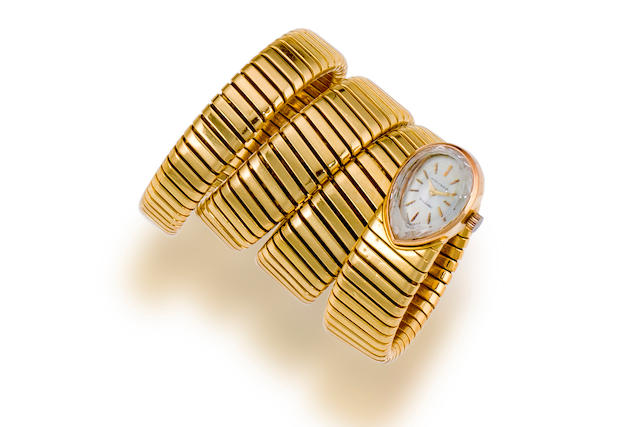 An eighteen karat gold Tubogas bracelet wristwatch, Movado, Bulgari