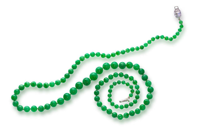 A jadeite jade and diamond necklace