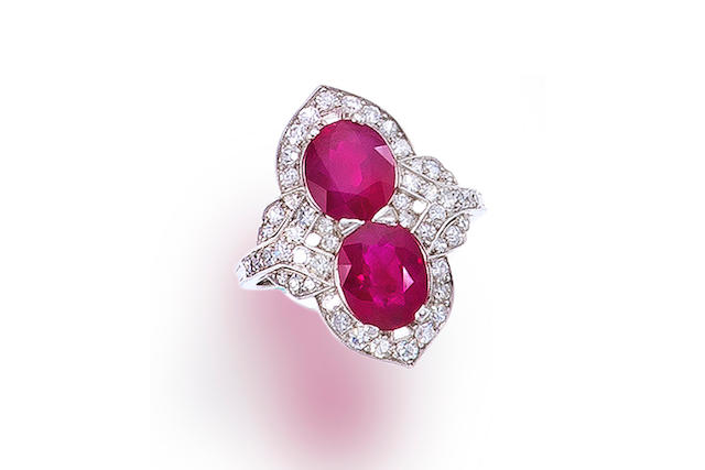 A ruby and diamond two-stone ring