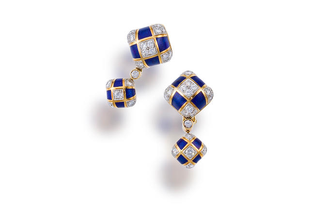 A pair of diamond and enamel earrings, David Webb
