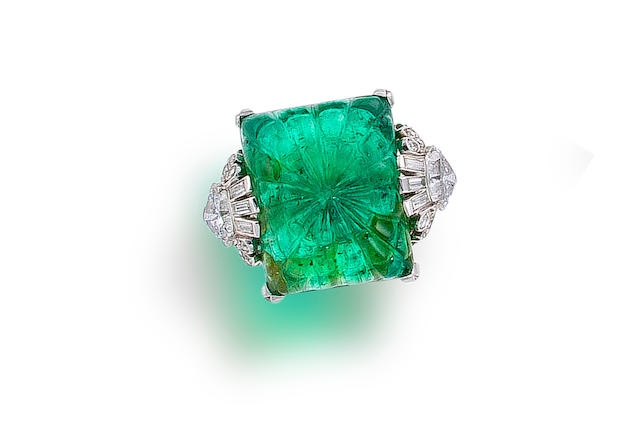 An art deco emerald and diamond ring,