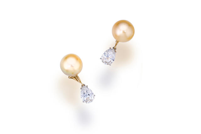 A pair of South Sea cultured pearl and diamond earclips
