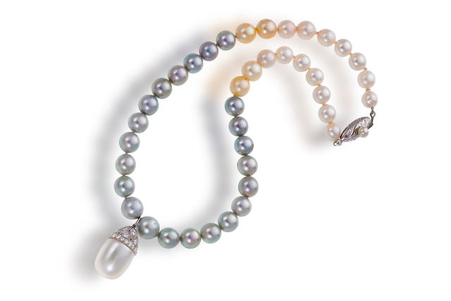A natural pearl pendant and cultured pearl necklace