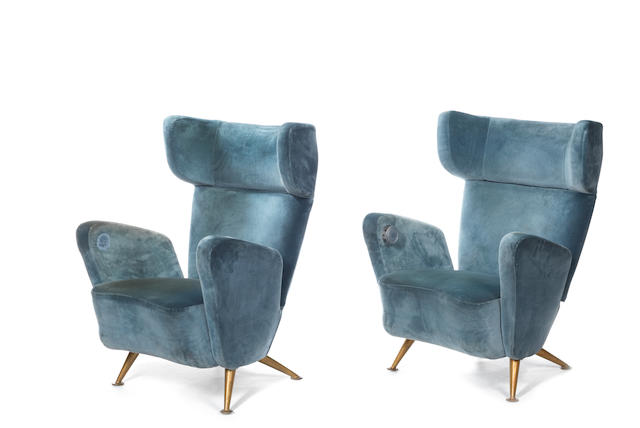 Giulio Minoletti and Gio Ponti for Breda A Pair of Settebello Armchairs designed 1953  with velvet upholstery and gilded metal feet, one with metal seat number to one arm concealing a sliding ashtray behind  Height: 39 in. 99 cm.