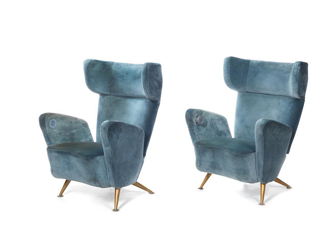 A pair of upholstered Settebello armchairs Minoletti and Gio Ponti,  Italian 1952