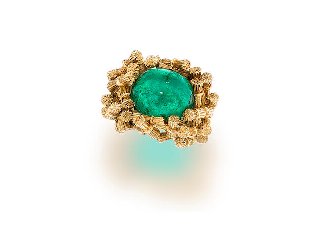An emerald and eighteen karat gold ring, Jean Schlumberger
