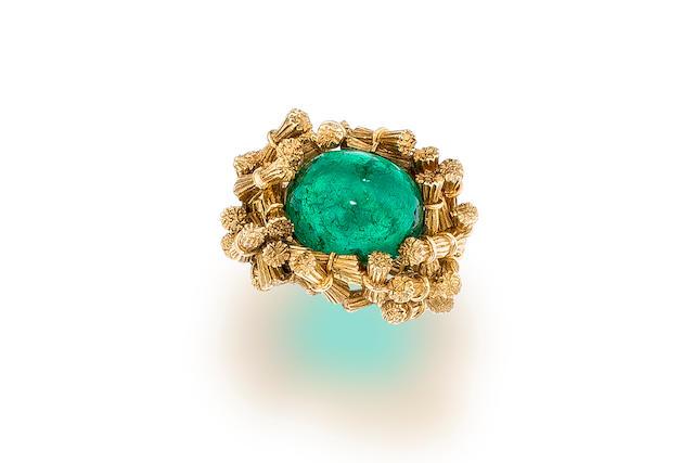 An emerald and eighteen karat gold ring, Jean Schlumberger