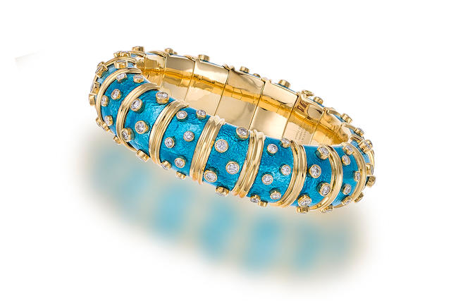 An enamel and diamond bangle bracelet, Schlumberger for Tiffany & Co.,
