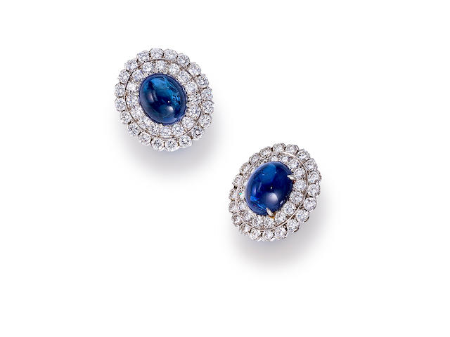 A pair of sapphire and diamond earclips, David Webb