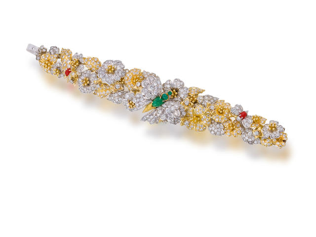 A diamond, emerald and coral bracelet,