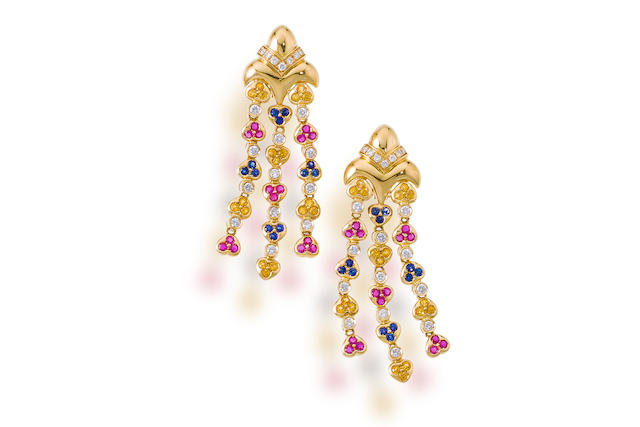 A pair of diamond and gem-set pendant earrings
