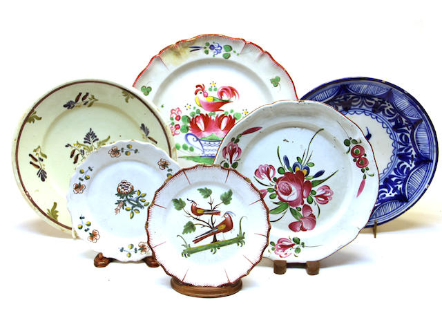 Seven French faience platters and plates 18th/19th century