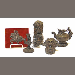 An assembled group of five Renaissance style patinated bronze table articles late 19th/early 20th century